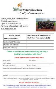Guernsey Athletics Winter Training Camp – School years 2-7