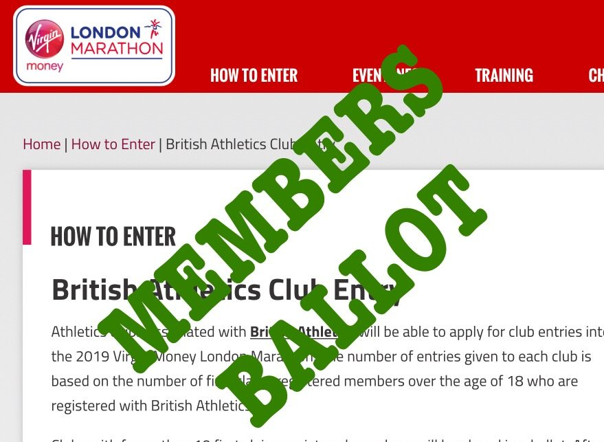 2019 London Marathon – Club ballot place
